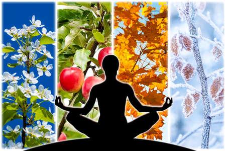 Vrouwelijke yoga figuur silhouet tegen collage van vier foto's die elk seizoen vertegenwoordigen: lente, zomer, herfst en winter.