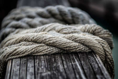 Ropes from an old sailing boat, close-up, shallow depth of field.