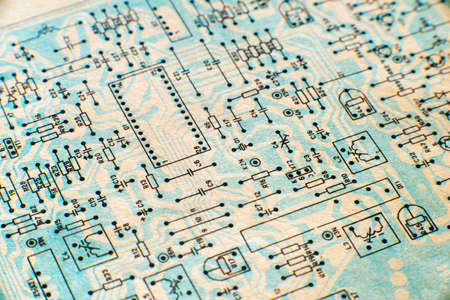 Electronic paper schematic diagram of retro television. Фото со стока