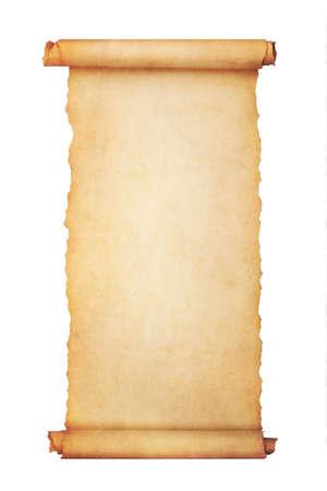Desplazamiento de papel en blanco vintage aislado sobre fondo blanco con espacio de copia. Foto de archivo