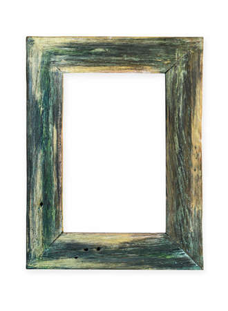 Rustic green hand-made wooden frame. Isolated on white.