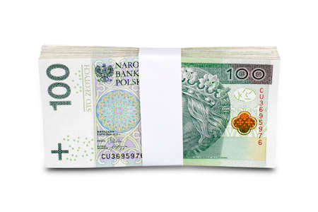 Bundle of polish 100 zloty banknotes. Isolated on white. Path included.