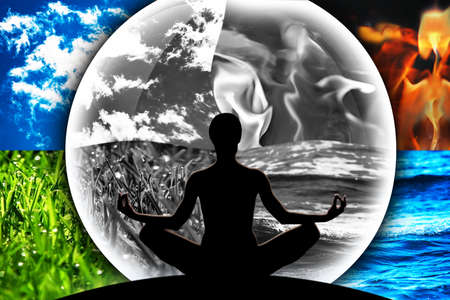 Female yoga figure in a transparent sphere, composed of four natural elements (water, fire, earth, air) in black and white on a background made of colorful elements. Ecology concept of earth destruction.