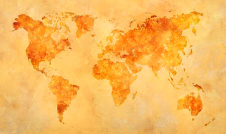 World map in watercolor painting abstract splatters on paper. Reklamní fotografie