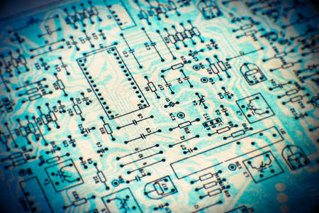 Electronic paper schematic diagram of retro television. Shallow Depth of Field. SDF.
