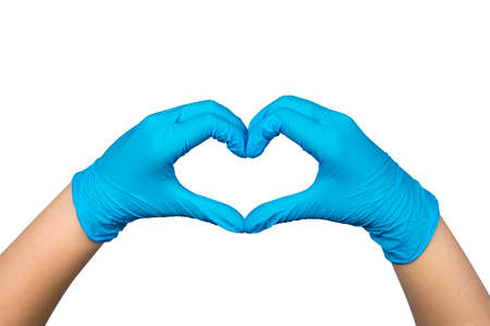 Hands in blue medical gloves showing heart sign isolated on white background. Clipping path included.