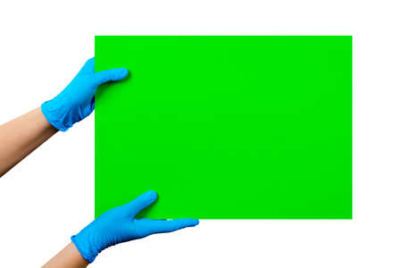 Empty green card in doctor's hands in blue gloves with copy space, isolated on white background. Clipping path included.