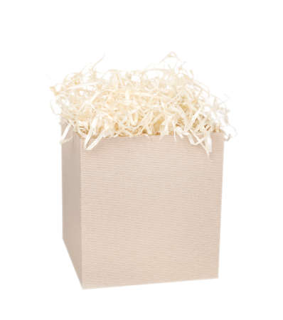 Cardboard box for eco gift filled with decorative shredded white paper / straw. Isolated on white.