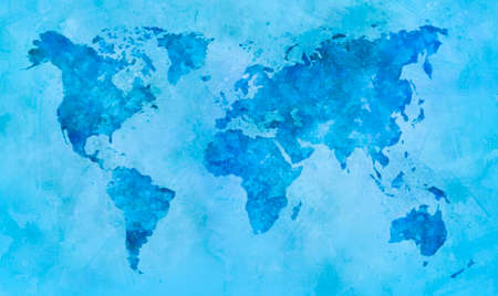 World map in blue watercolor painting abstract splatters on paper.