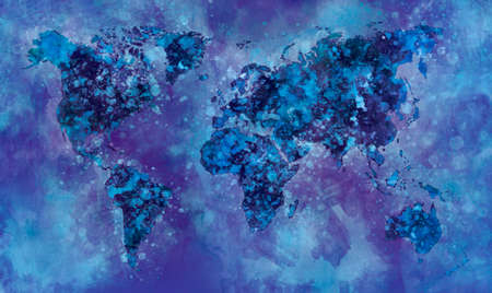 Dark Night World map in watercolor painting abstract splatters on paper. Stock Photo