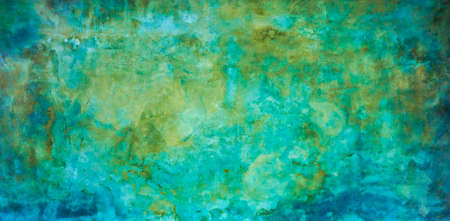 Grungy blue and green old concrete wall texture background.