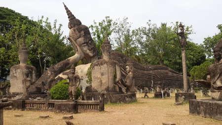 dogma: Buddhas place in Vientiane, Laos Stock Photo