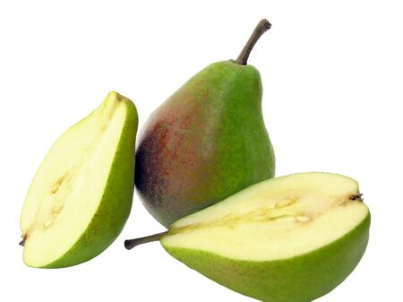 two and a half: Two half and whole tasty pear Stock Photo