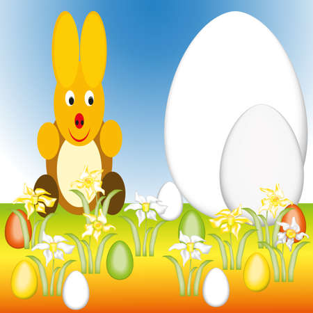 vernal: Easter bunny is sitting with Easter eggs in the grass  Stock Photo