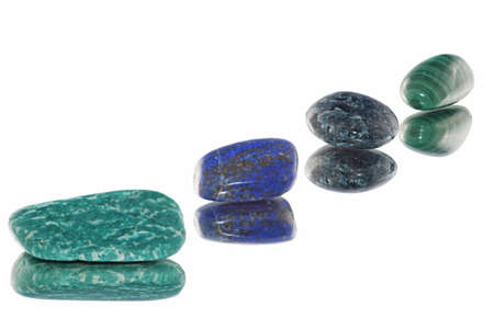 Aufgereihte stones from left to right Amazonite, lapis with pyrite, apatite, malachite photo