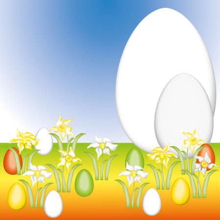 vernal: Vernal background with Easter eggs, Easter bells in different colors and with a giant egg blue background  Stock Photo