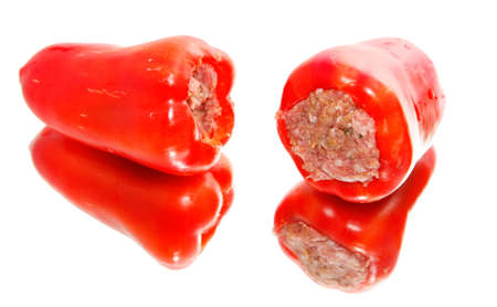 Peppers with minced meat, to mirror  photo