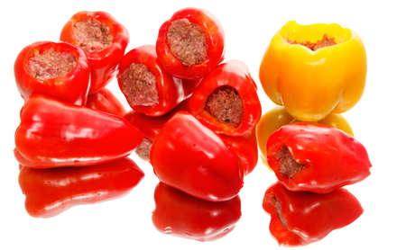 Peppers ready for cooking, stuffed with minced meat. Stock Photo - 18197734
