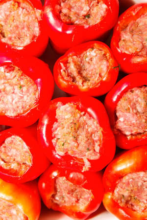 Stuffed peppers with meat still raw. Stock Photo - 18197748