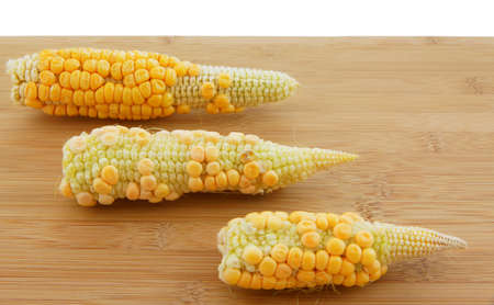 genetically engineered: Three corn cobs on a board