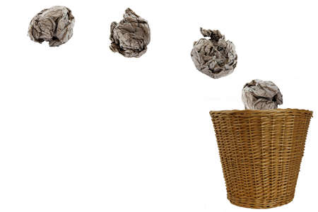 threw: In the trash drop paper balls