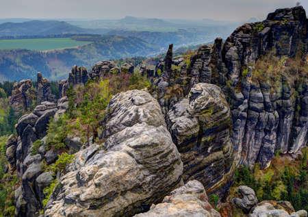 scarring: Elbsandsteingebirge in primavera Archivio Fotografico