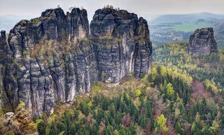scarring: Sandstone massif stands in the landscape
