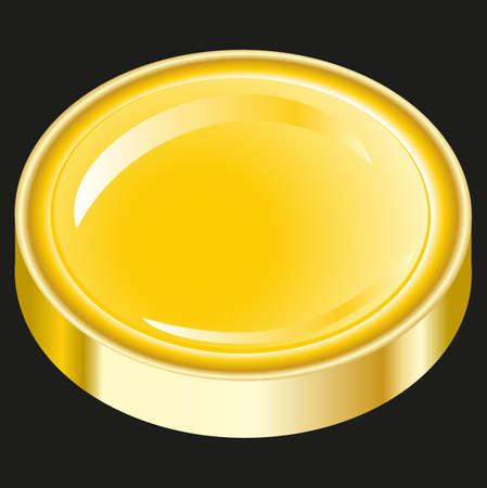 golden Push button on black background