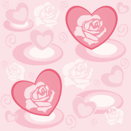 hearty: Heart with rose petals in pastel color Illustration