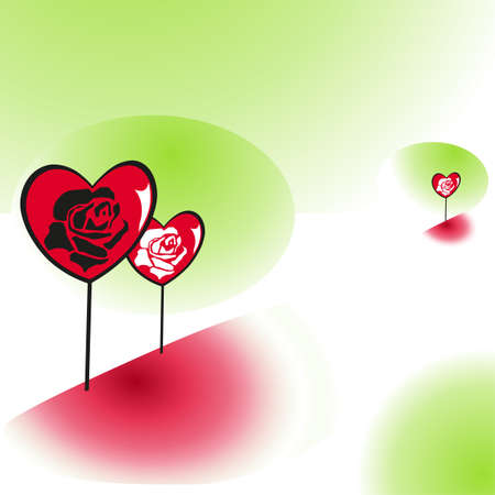 hearty: Heart with rose flowers on spring background