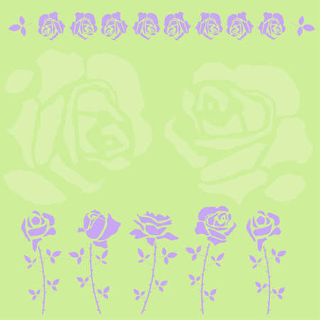stenciled: Rose petals and rose branches in character templates spring colors