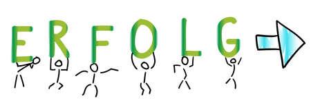Stick figure wearing letters success directional arrow