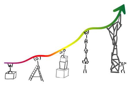 Team Statistieken heft rode gebied meten brancard succes door teamprestatie Stock Illustratie