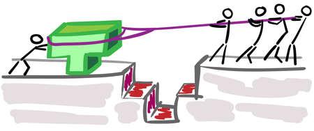 solucion de problemas: Soluci�n de problemas de las figuras de palo en el trabajo en equipo, cierre por un barranco