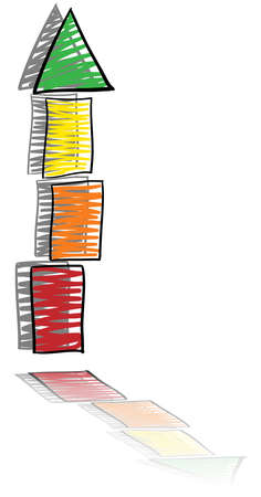 sketched arrows: Growth in tower form, from red to green in three steps, with mirroring