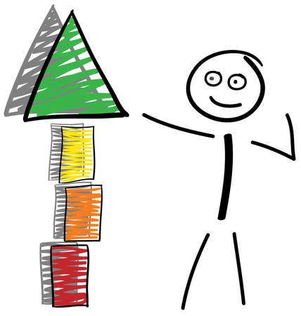 Stick figure shows on a tower at top, from red to green, with shadow  Illustration