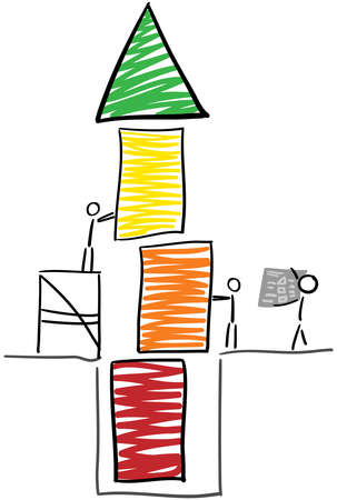 sketched arrows: Stick figure build a tower from red to green  Illustration