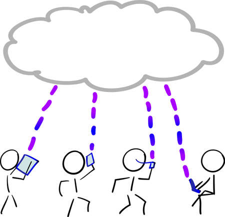 Stick figure using communication devices via cloud data, as different users  矢量图像