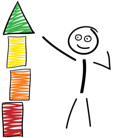 Stick figure shows on a tower at top, from red to green Vetores