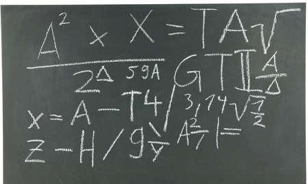 mathematically: Black chalk board with formulas unknown in white