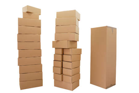 uncoated: Uncoated, stacked boxes in brown, on white background.