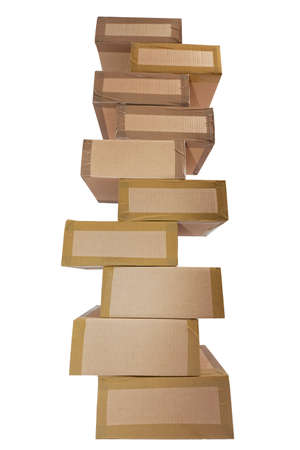 ship order: Wobbly cardboard stack of cardboard boxes on a white background some.