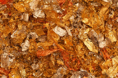 Various pieces of gold leaf and imitation gold remains gold, syllable, aluminum, and copper.