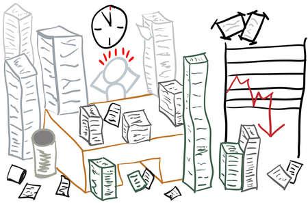 Impresión gráfica en la oficina, el estrés, la presión del tiempo, la carga de trabajo con las pilas de papel como un dibujo. Ilustración de vector