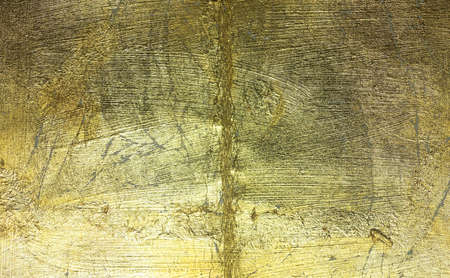 gilded: Gilded surface with cracks and flaking and abrasions.