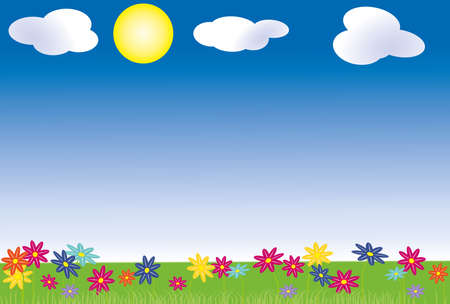 awakening: Spring with blue sky with clouds and sun. For this purpose, a meadow with spring flowers of different colors. Illustration