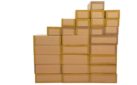 Uncoated, stacked boxes in brown, on white background.