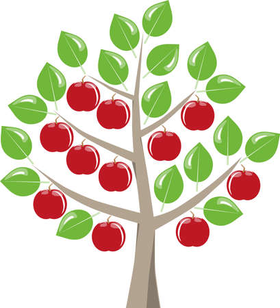 graphically: Tree with red apples ready for harvest, summer, green leaves on a white background. Symbolic fruit tree as a graphic on white.