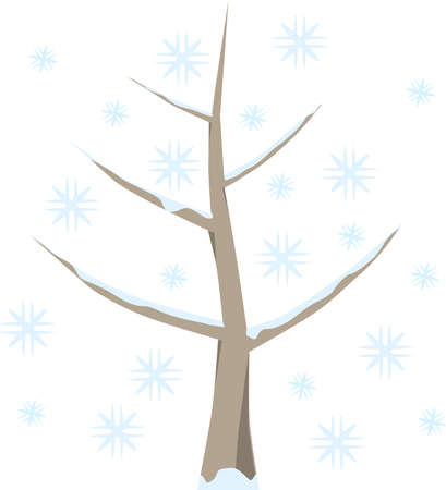 symbolically: Tree with snow in winter, snowflakes in cold blue, on white background. Symbolic fruit tree as a graphic on white.