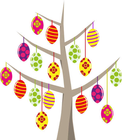 slopes: Tree with Easter eggs in various colors and patterns decorated.Symbolic Ostersbaum as graph on white. Illustration